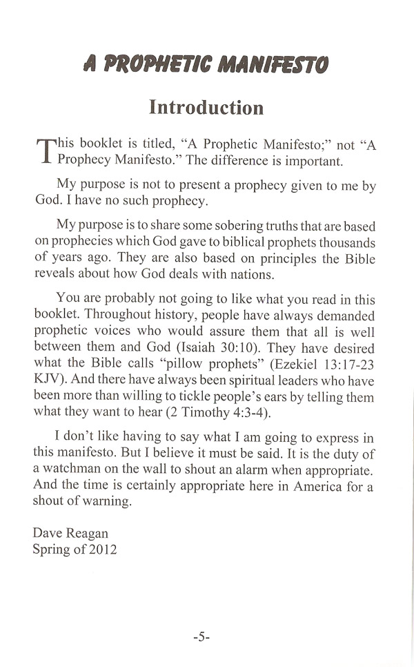 A Prophetic Manifesto Booklet Intro