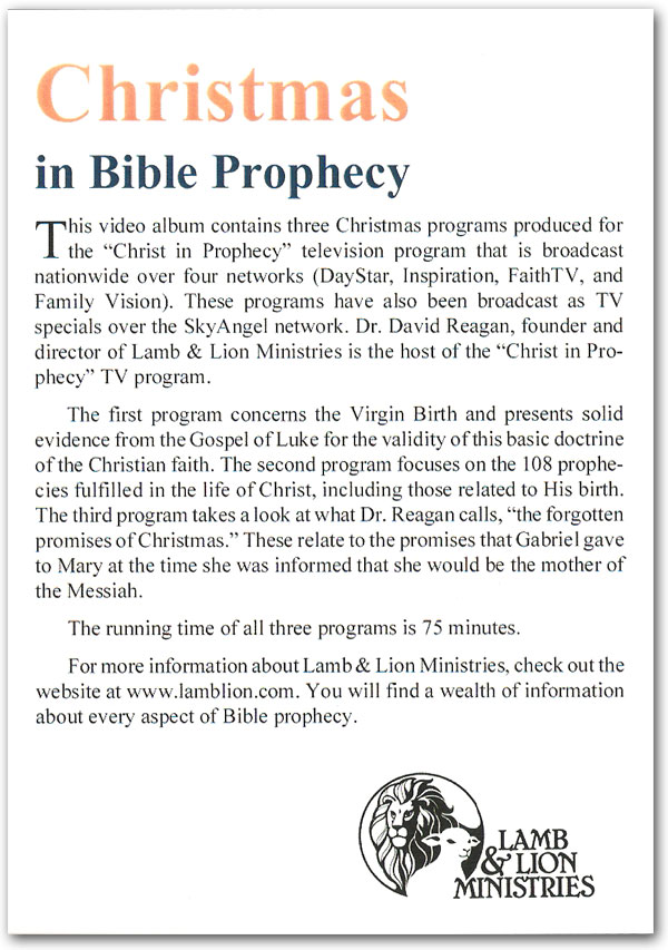 Christmas in Bible Prophecy DVD Back