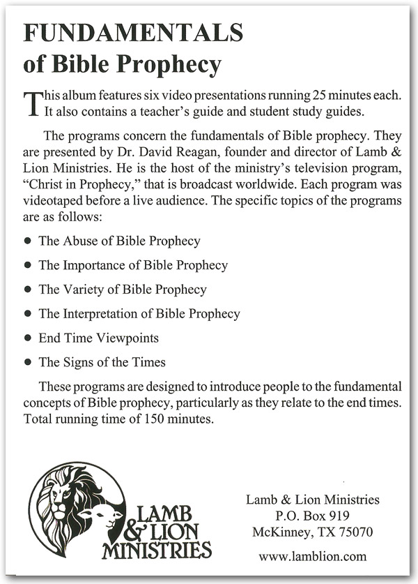 Fundamentals of Bible Prophecy DVD Back