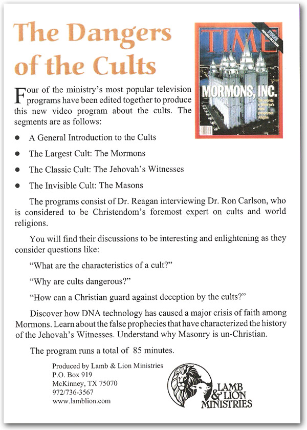he Dangers of the Cults DVD Back