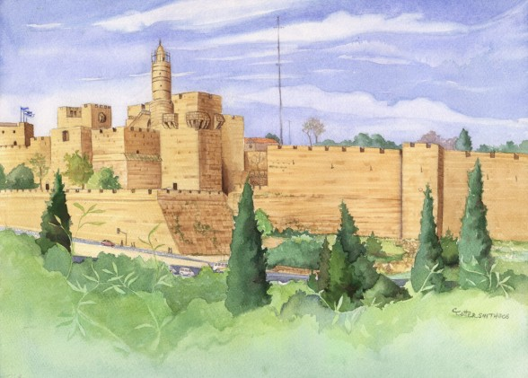 The Tower of David Watercolor