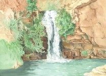 The Ein Gedi Oasis Watercolor