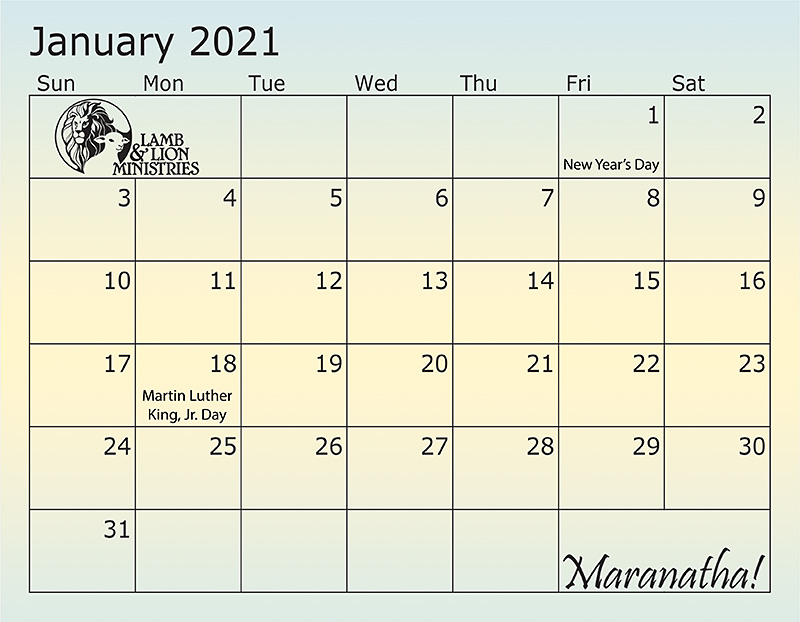2021 Holy Land Calendar January Dates